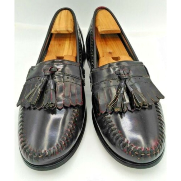 Bass Other - Bass Mens Leather Tassel Loafers Burgundy Sz 10.5M